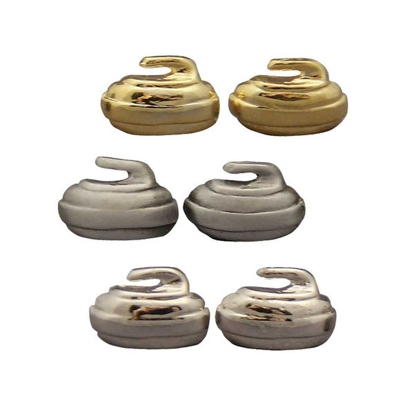Curling rock stud earrings