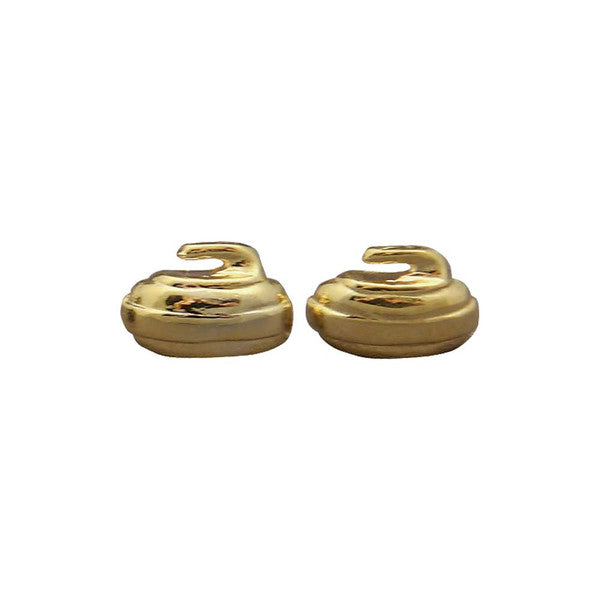 Gold Curling rock stud earrings
