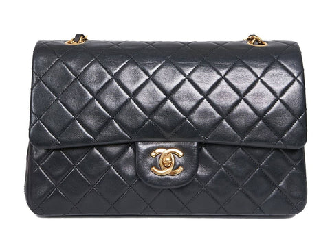 """A 10"""" Chanel Classic Flap Bag in Black Lambskin and with Gold Hardware"""