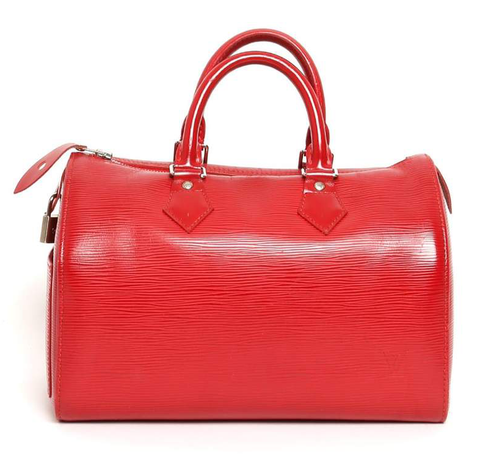A Louis Vuitton Speedy in red Epi leather