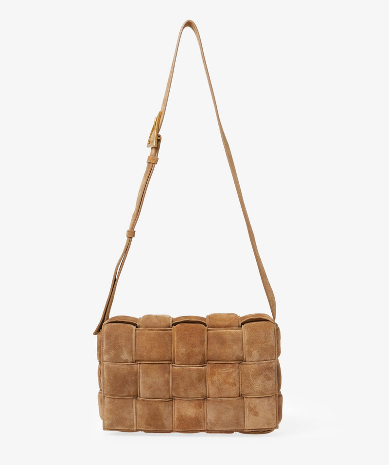 Bottega Bottega Padded Cassette Brown Suede Bag