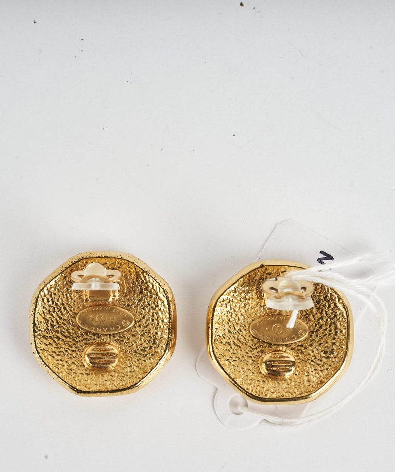 Chanel Chanel 1995 CC Hexagon Clip on Earrings