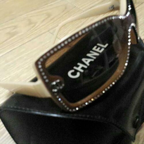 Chanel Chanel Brown and White Frame Sunglasses with Rhinestones