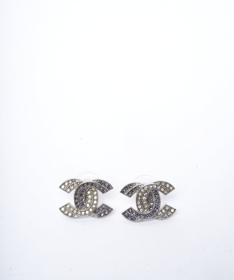 Chanel Chanel White and Blue Rhinestone Earrings