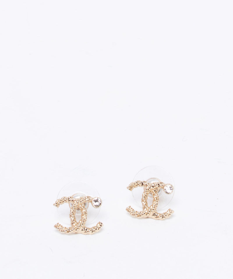 Chanel Chanel woven gold with crystal CC stud earrings