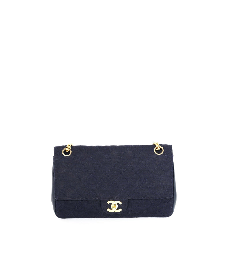"Chanel Chanel 10"" Medium Vintage Jersey Classic Flap Bag"