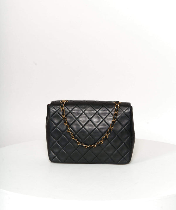 "Chanel Chanel 8"" mini black  vintage classic flap bag 12716797"