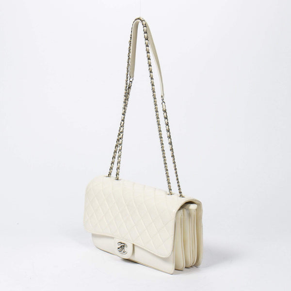 Chanel Chanel Accordion Off-White Classic Single Flap Bag MW2373