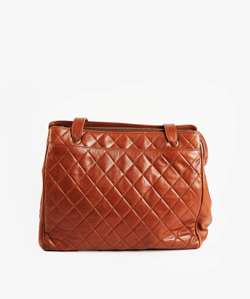 Chanel Chanel Brown Lambskin Quilted Tote