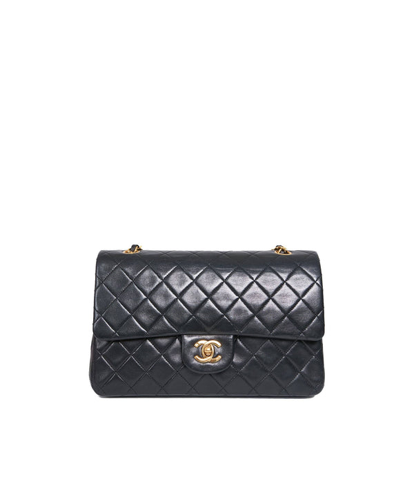 Chanel Chanel classic flap black gold hardware 9 inch