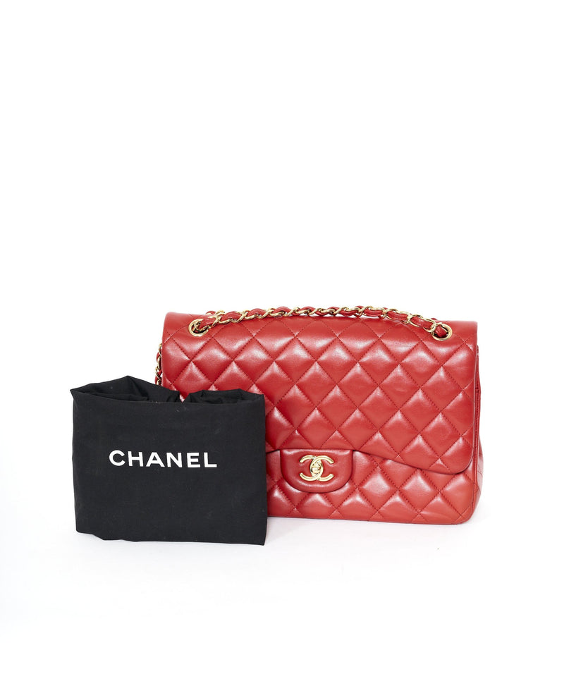 Chanel Chanel Classic Red Jumbo Double flap