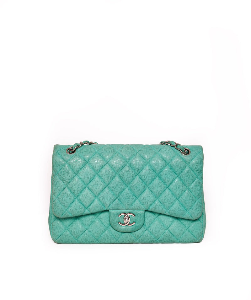 Chanel Chanel Jumbo Turquoise Green Caviar with Silver Hardware