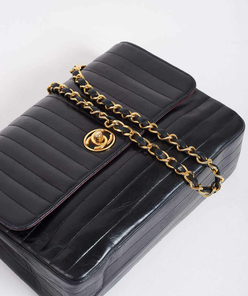Chanel Chanel Vintage Quilted Stripe Flap Bag