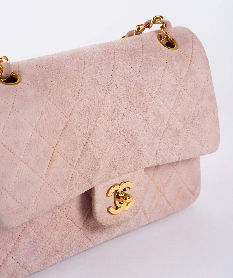 "Chanel Classic 10"" Medium Pink Suede Leather Double Flap Bag 2xxxxxxx"