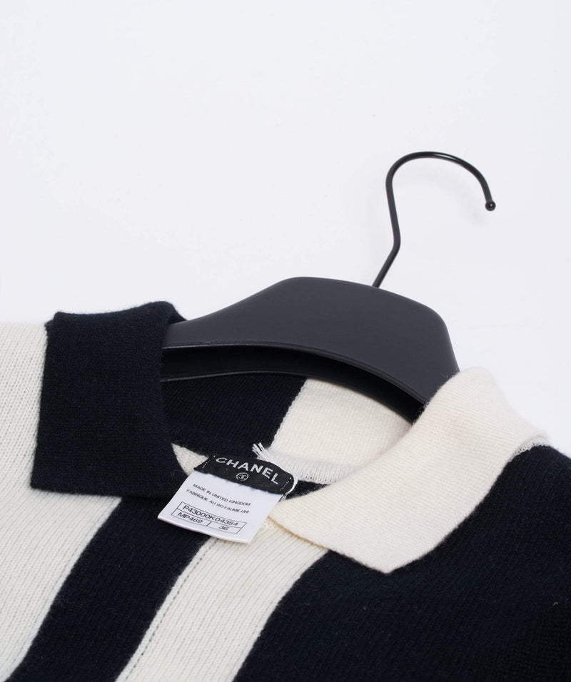 Chanel Chanel Black and White Cashmere Top