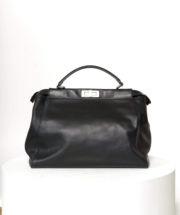 Fendi Fendi Black Leather Peekaboo Bag Large AGL1140