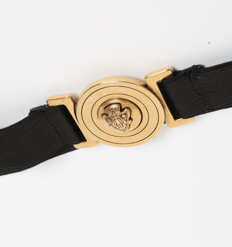 Gucci Gucci Black and Gold Elastic Waist Belt Large
