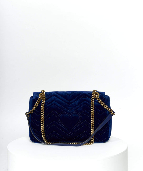 Gucci Gucci Blue Velvet Marmont Bag Large GHW