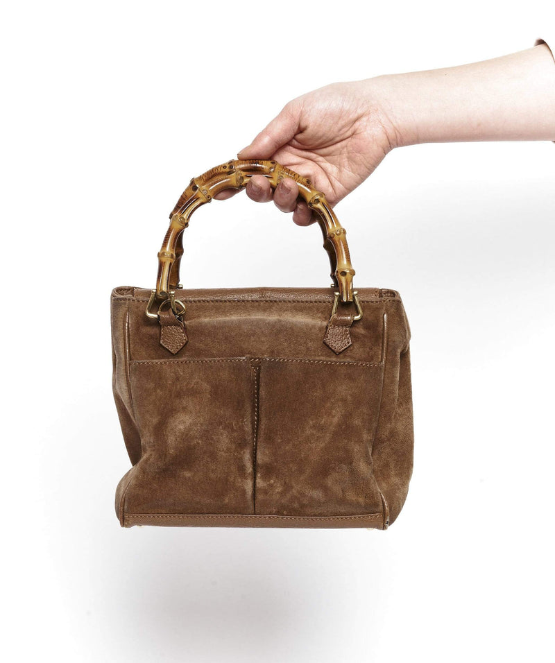 Gucci Gucci Brown Suede Bag with Bamboo Top Handle
