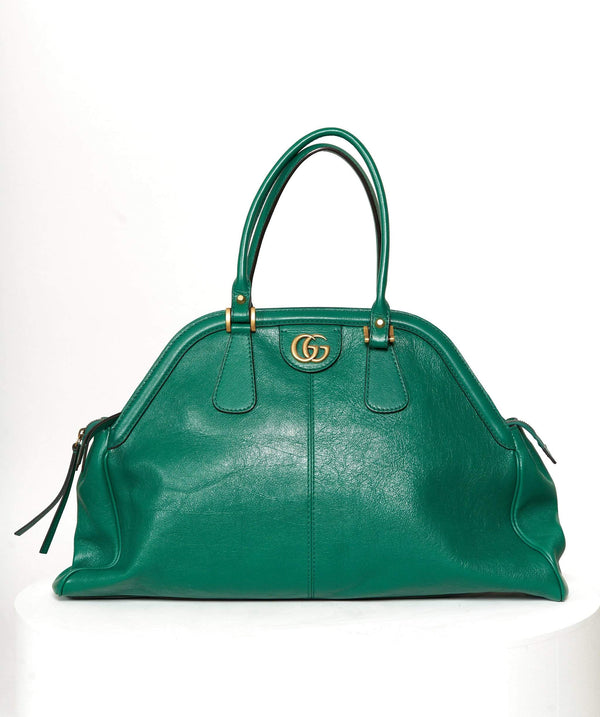 Gucci Gucci Green Leather Top Handle Bag