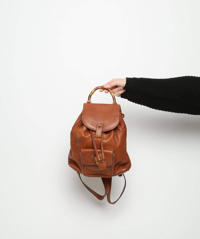 Gucci Gucci Mini Brown Bamboo Backpack
