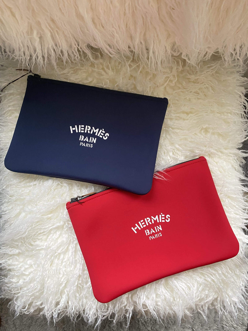 Hermès Hermes Bain Paris pouch red