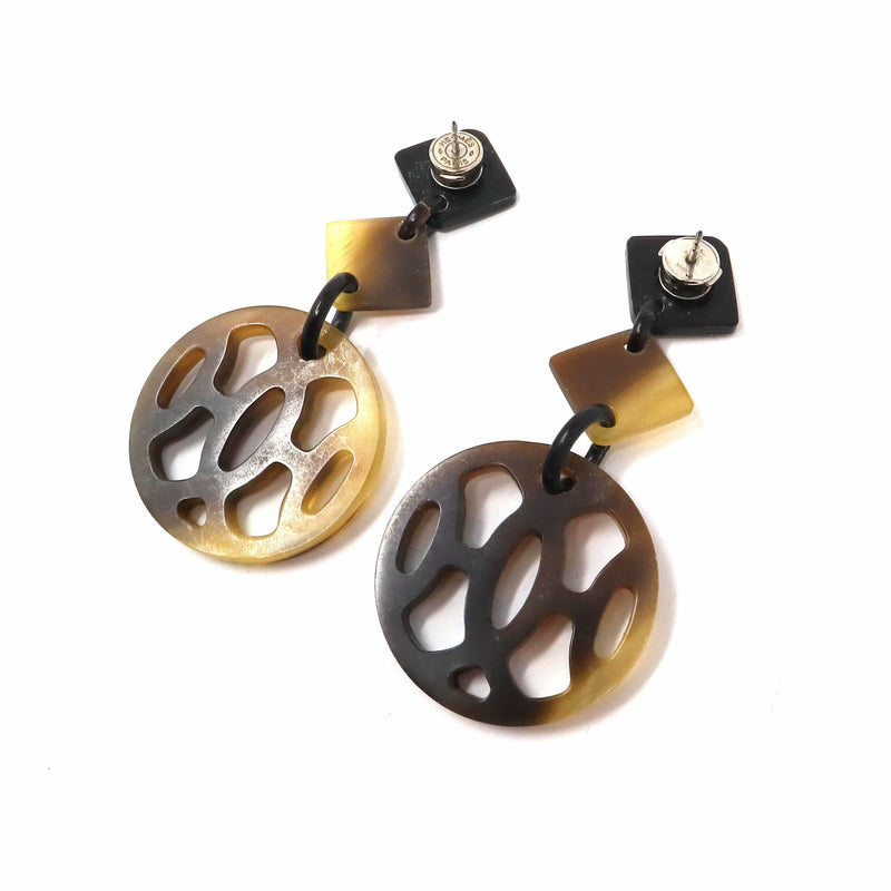 Hermès Hermes Buffalo Round Horn Earrings