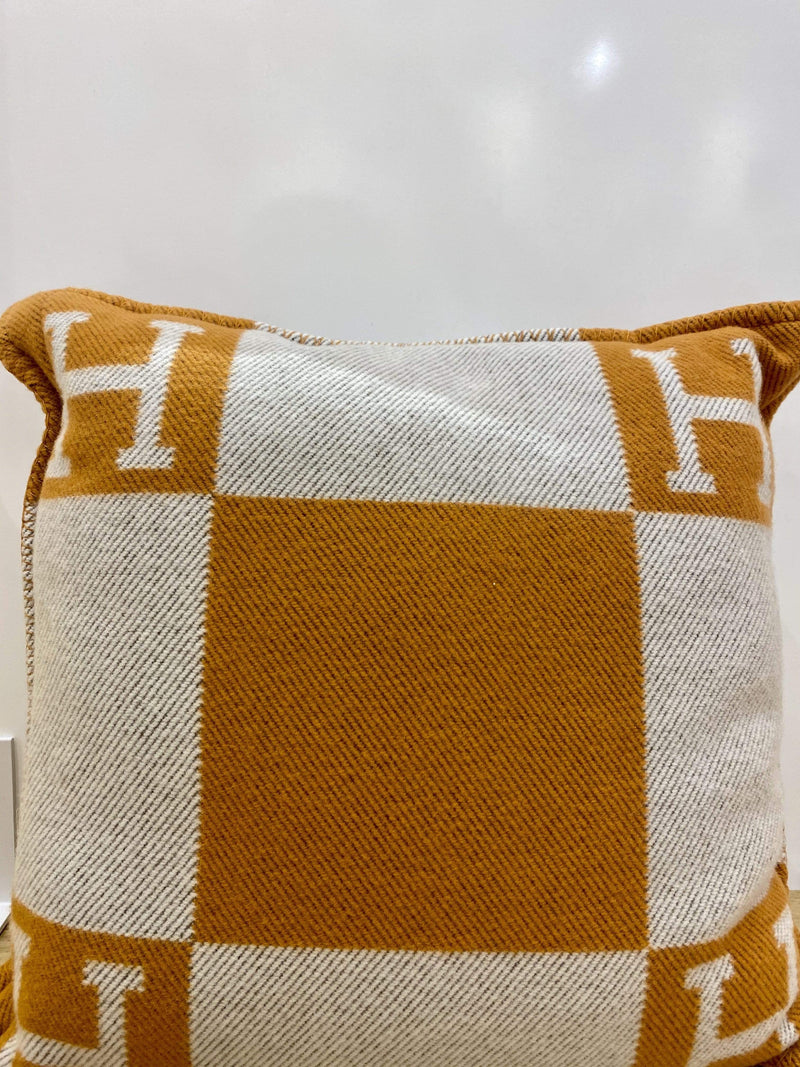 Hermès Hermes Cashmere pillow orange and white