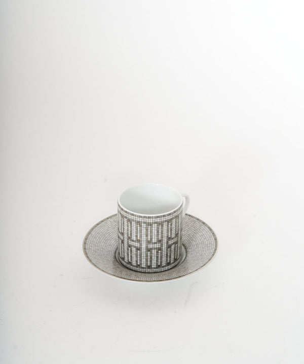 Hermès Hermes silver mosaique single coffee cup and saucer