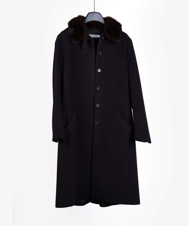Jill Sander Jill Sander Navy Trench Coat With Fur Collar Detail
