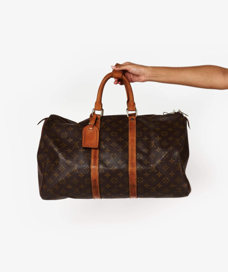 Louis Vuitton Louis Vuitton Brown Leather Monogram Keepall 45