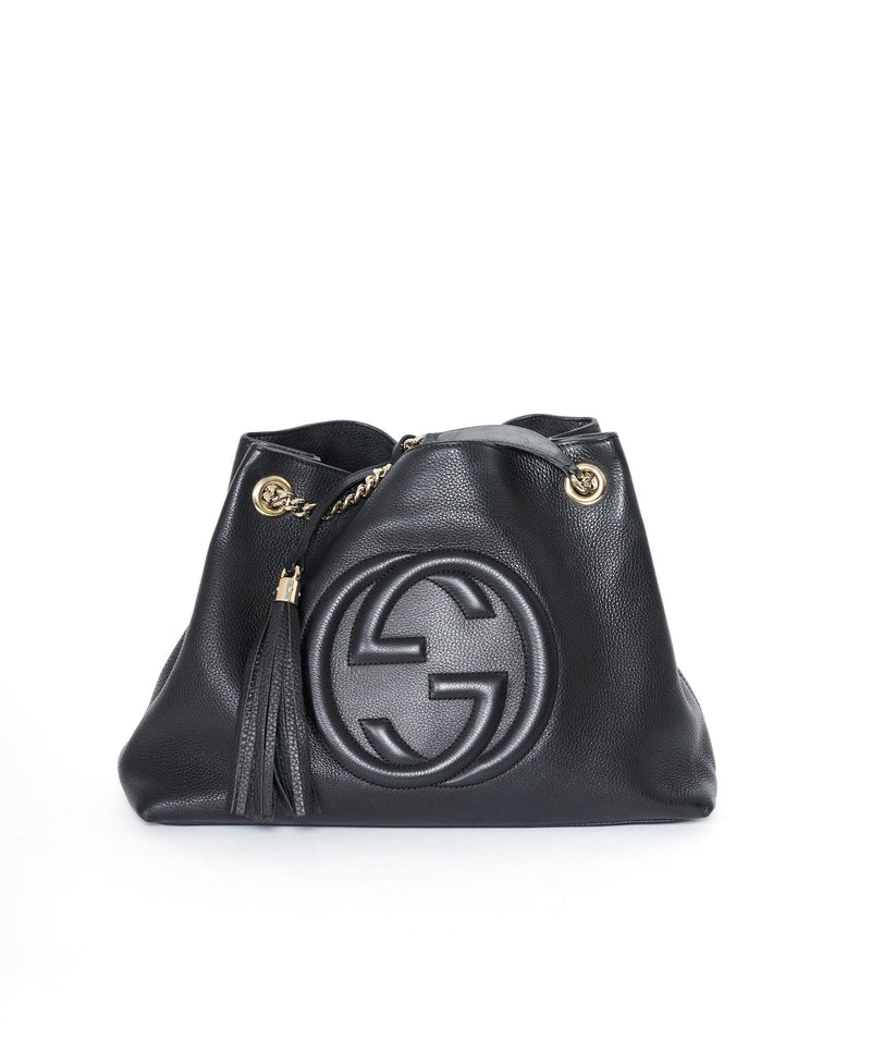 LuxuryPromise Gucci Black Leather Soho Tote Bag GHW