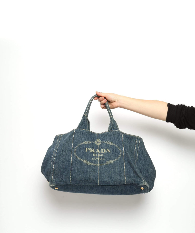 Prada PRADA Blue Denim Canapa Canvas GM Hand Bag