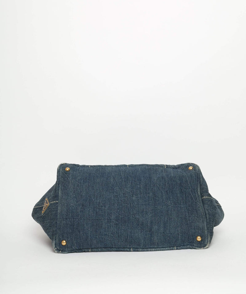 PRADA Blue Denim Canapa Canvas GM Hand Bag