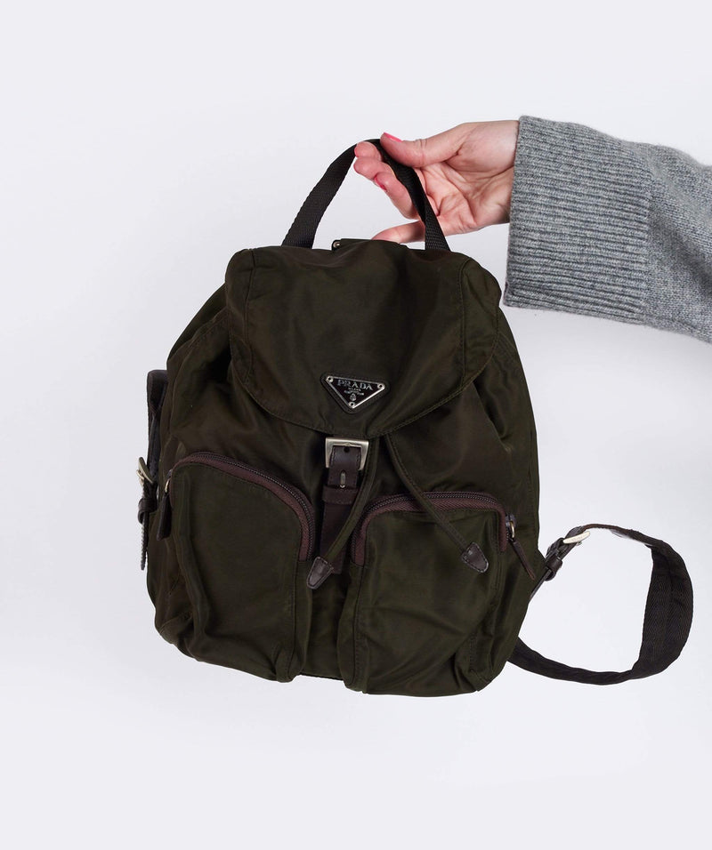 Prada Prada Vintage Nylon Khaki Backpack