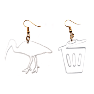 Hand Made Crystal Clear Bin Chicken and Bin Earrings Acrylic - Sparrow & The Bear