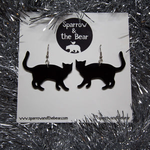Hand Made Black Cat Earrings Acrylic - Sparrow & The Bear