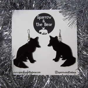 Hand Made Black Wolf Earrings Acrylic - Sparrow & The Bear