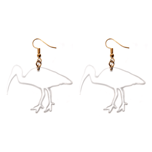 Hand Made Crystal Clear Bin Chicken Ibis Earrings Acrylic - Sparrow & The Bear