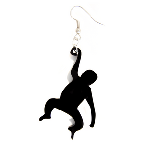 Hand Made Black Monkey Earrings Acrylic - Sparrow & The Bear