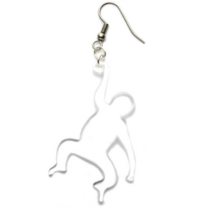 Hand Made Clear Monkey Earrings Acrylic - Sparrow & The Bear