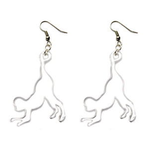 Hand Made Crystal Clear Monkey Earrings Acrylic - Sparrow & The Bear