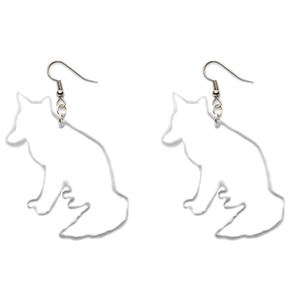 Hand Made Crystal Clear Wolves Earrings Acrylic - Sparrow & The Bear