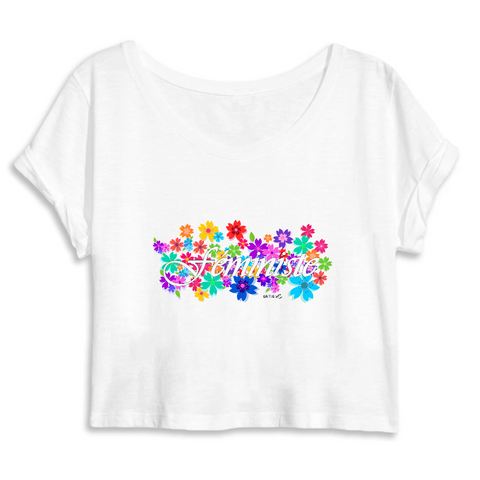 t shirt feministe crop top fleuri