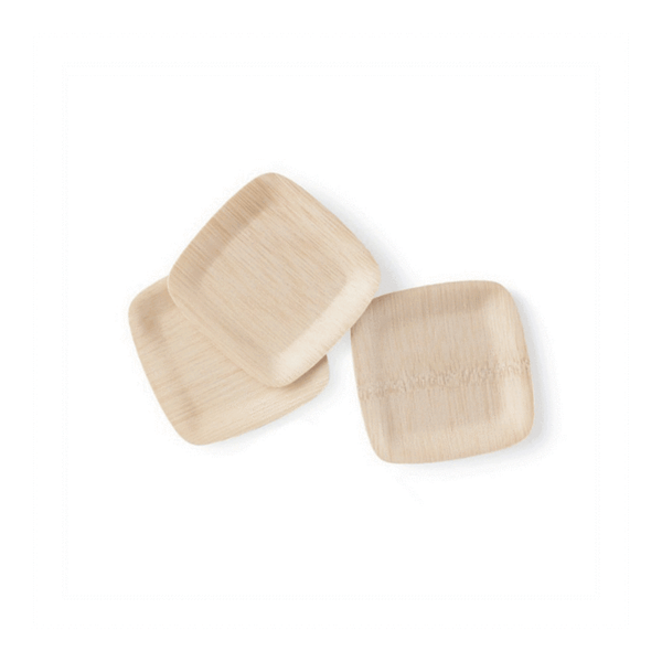 "5"" Square Bamboo Appetizer Plates, Bulk Case of 100"