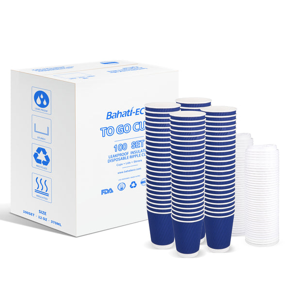 Disposable Coffee Cups With Lids-12oz