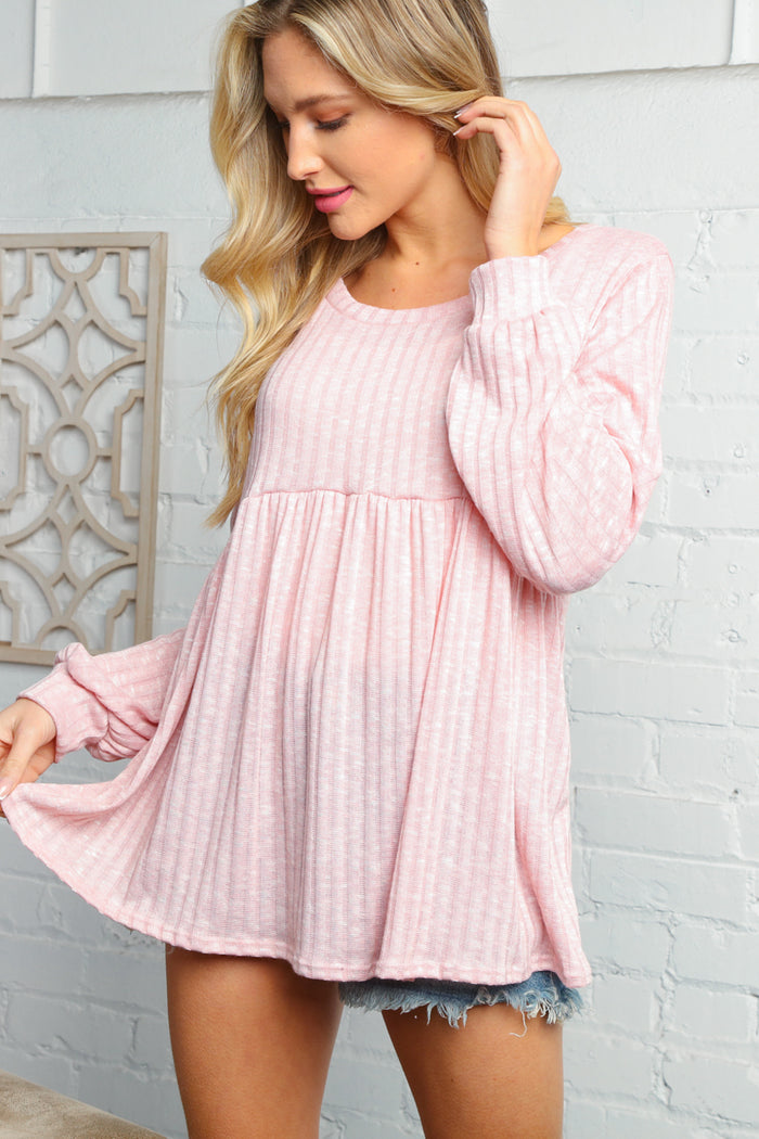 Blush Pink Baby Doll Rib Tunic