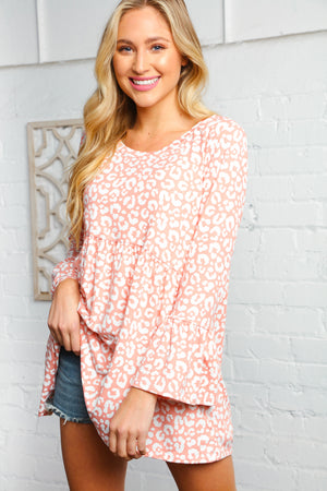 Blush Baby Doll Animal Print Bell Sleeve Top