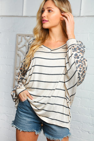 Leopard and Stripe V Neck Raglan Top