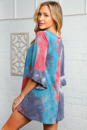 Blue Tie Dye Marbled Bell Sleeve Tunic